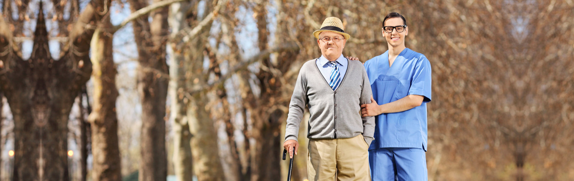 elderly with a caregiver