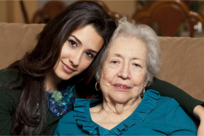 young woman and elderly
