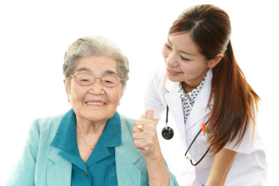 nurse and an elderly woman